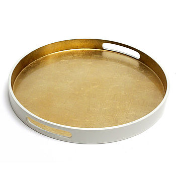 Round Lacquered Drinks Tray Pale Gold Silverleaf