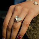 Pearl Heart Rings on Model