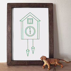 Cuckoo Clock Screen Print - posters & prints