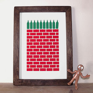 Wine Print 'Ten Green Bottles' Screen Print - posters & prints