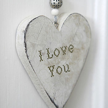 Wooden 'I Love You' Hanging Heart