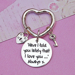 Handmade Personalised Silver Heart Key Ring
