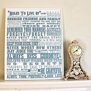 'Rules To Live By' Print Bespoke Colour - art & pictures
