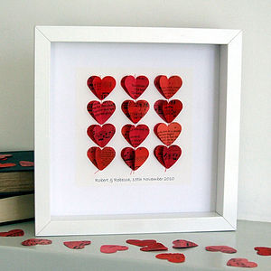 Personalised Heart Strings Artwork In Red - mixed media & collage