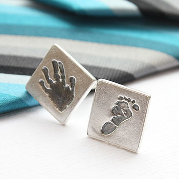 Handprint Footprint Square Silver Tie Pin