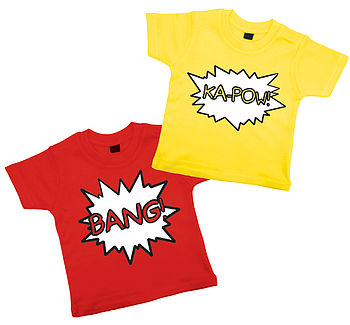 Red & Yellow Comic T Shirt Set