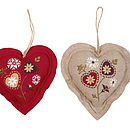 Set Of Two Embroidered Felt Hanging Heart