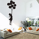 Large Floating Balloon Girl Wall Sticker