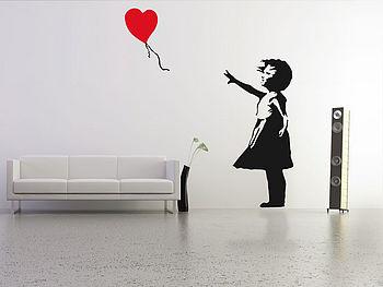 Large Banksy Balloon Girl Wall Sticker
