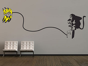 Large Banksy Monkey Bomb Wall Sticker