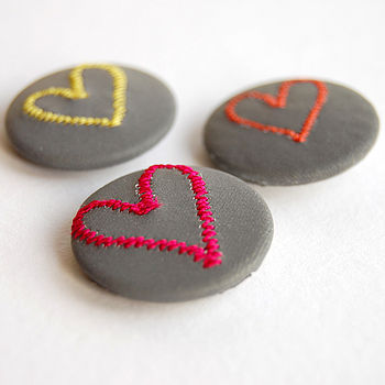 Set Of Three Heart Reflective Badges