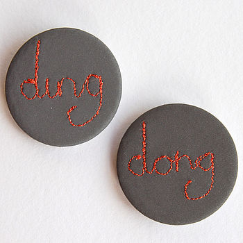 Set Of Two 'Ding Dong' Reflective Badges