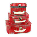 nesting suitcases red polka dot