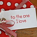 'The One I Love' Anniversary Gift Tag