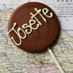 Personalised Handmade Chocolate Lolly - wedding favours
