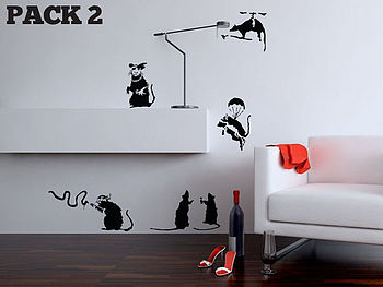 Banksy Rat Two Pack Wall Sticker