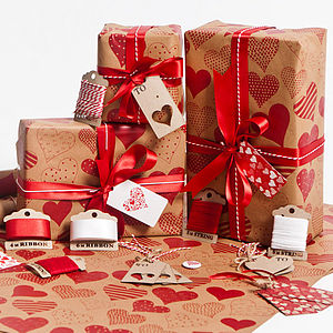 Love Hearts Brown Wrapping Paper - ribbon & wrap
