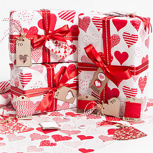 Red Hearts White Wrapping Paper - ribbon & wrap
