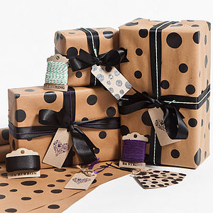 Recycled Black Dotty Gift Wrap Set - ribbon & wrap