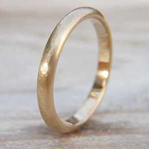 3mm Hammered Wedding Ring In 18ct Gold - rings