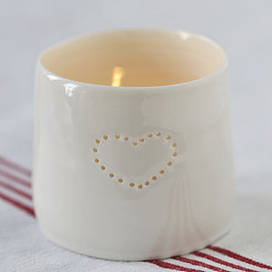 Porcelain Single Heart Tealight - lighting