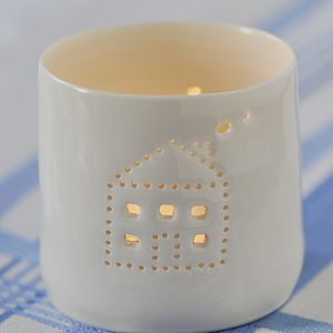 Porcelain House Tea Light - christmas home
