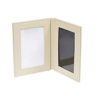 Beige Leather 2 Fold Travel Photo Frame