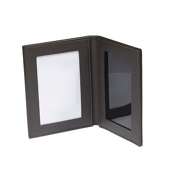 Brown Leather 2 Fold Travel Photo Frame