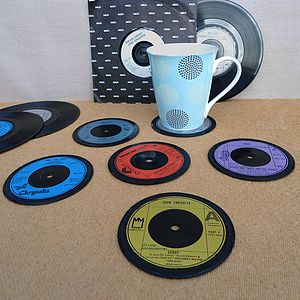 Set Of Six Record Coasters - kitchen