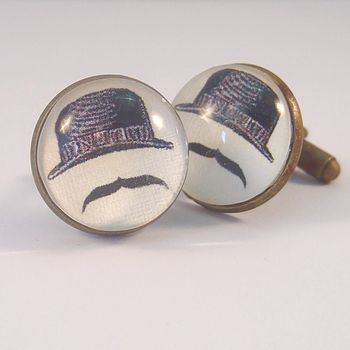Antique Bronze Round Bowler Hat Cufflinks