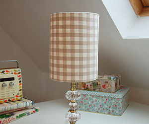 Gingham Fabric Drum Lampshade - bedroom