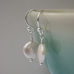 Fresh Water Pearl Coin Drop Earrings