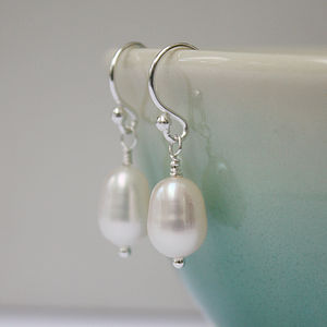 Pearl Earrings On Silver Hooks