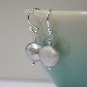 Silver Grey Fresh Water Pearl Drop Earrings