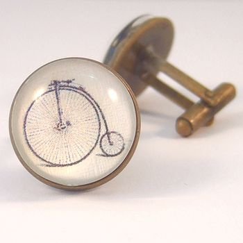 Penny Farthing Antique Bronze Round Cufflinks
