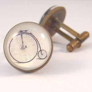 Penny Farthing Antique Bronze Round Cufflinks - men's jewellery