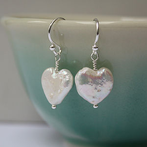 Cream Fresh Water Pearl Heart Earrings - women's jewellery