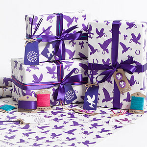 Recycled Love Birds Violet Gift Wrap Set - wedding cards & wrap
