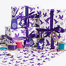 Recycled Love Birds Violet Gift Wrap Set