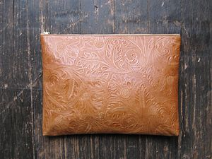 Tan Embossed Leather Portfolio Case - laptop bags & cases