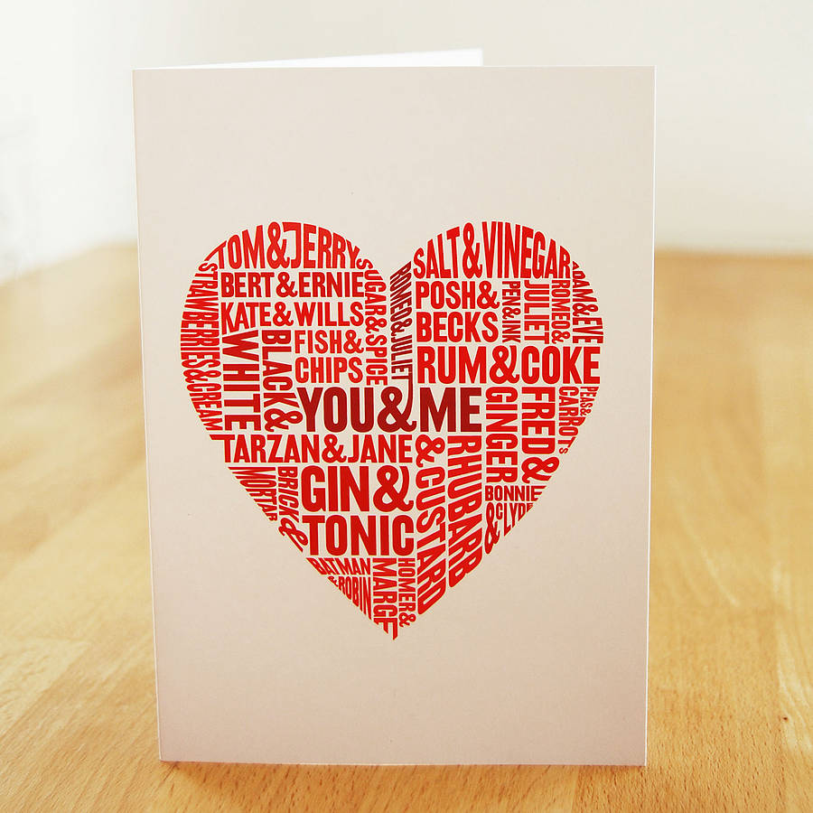 perfect pairs typographic greeting card by lucy loves this – Original Valentines Cards