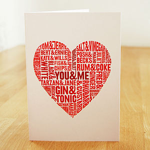 Perfect Pairs Typographic Valentines Card