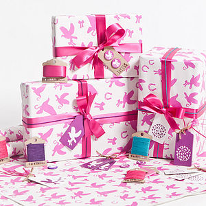 Love Birds Fuchsia Wrapping Paper Set - ribbon & wrap
