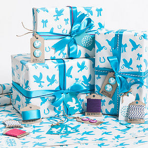 Recycled Love Birds Aqua Gift Wrap Set - ribbon & wrap