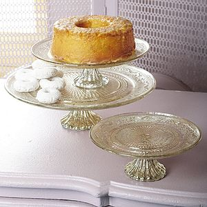 Antiqued Silver And Glass Cakestand - tableware