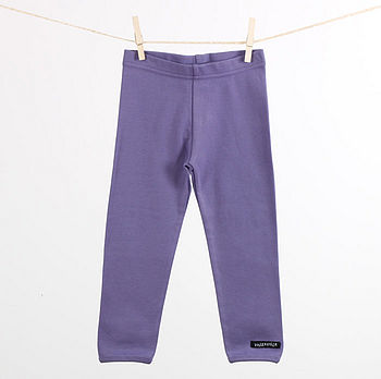 Plain cotton children's leggings violet