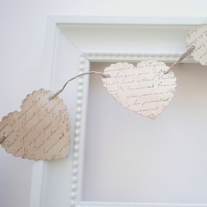 Small Paper Heart Bunting Vintage Script - outdoor decorations