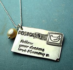 Personalised Silver Postcard Necklace