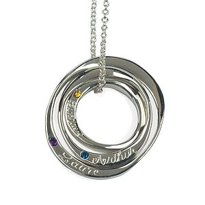 Three Silver Ring Necklace With Stones - women's jewellery