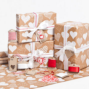 White Hearts Brown Wrapping Paper - gift wrap sets